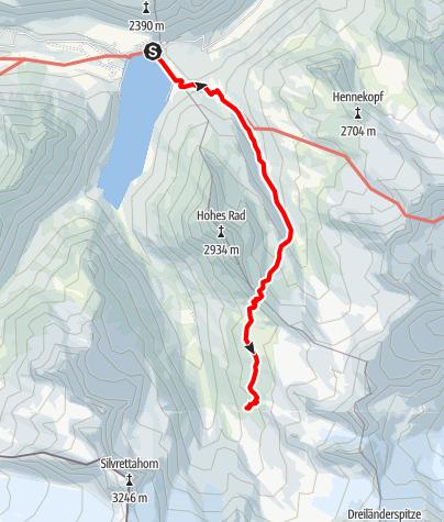 Karte / Montafoner Hüttenrunde - Madlenerhaus bis Wiesbadener Hütte