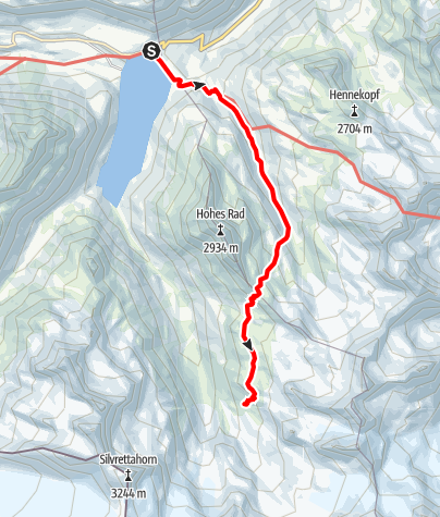 Karte / Montafoner Hüttenrunde - Silvretta-Bielerhöhe bis Wiesbadener Hütte