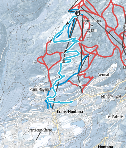 Map / Winter Hike from Cry d'Er to Crans