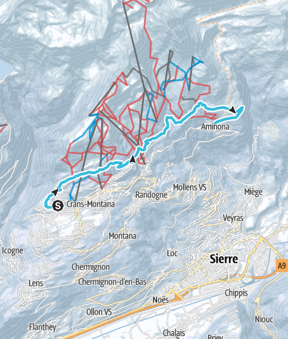 Map / Winter hike from Crans to Aminona