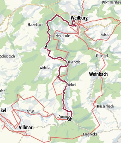 Karte / Lahnwanderweg 13. Etappe flussaufwärts Aumenau - Weilburg