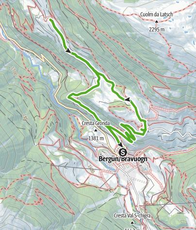 Karte / Bergün - Latsch - Stuls  - Bergün