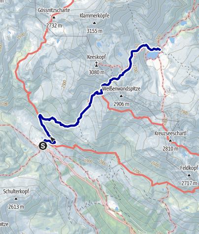 Kaart / Übergang von der Lienzer Hütte zur Adolf-Nossberger-Hütte (Niedere Gratenscharte)