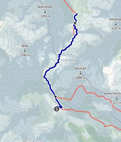 Kaart / Übergang von der Lienzer Hütte zur Elberfelder Hütte (Gössnitzscharte)