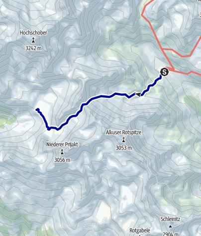 Kaart / Übergang von der Lienzer Hütte zur Hochschoberhütte (Mirnitzscharte)