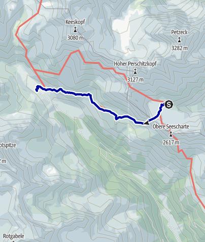 Kaart / Übergang von der Wangenitzseehütte zur Lienzer Hütte (Untere Seescharte)