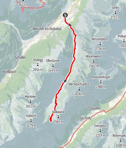 Mapa / Zustieg von Neder im Stubaital zur Innsbrucker Hütte