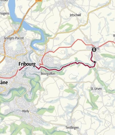 Map / Von Tafers durch die Gottéron-Schlucht nach Fribourg