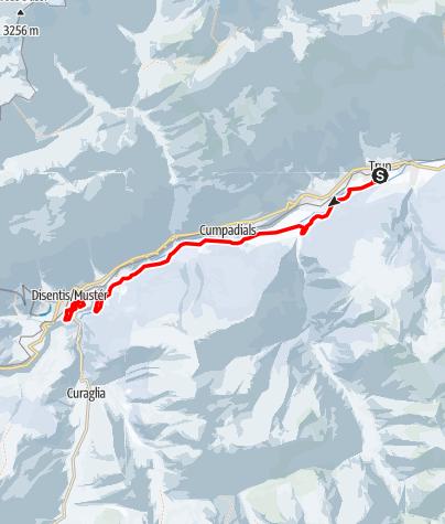 Map / Langlaufloipe Trun - Disentis
