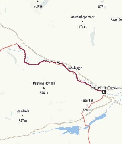 Map / Middleton-in-Teesdale to Langdon Beck
