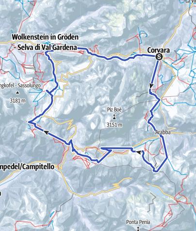 Cartina / Sellaronda – in senso orario (arancione)