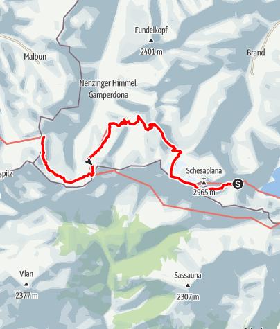 Karte / 02 Zentralalpenweg West, E41: Totalphütte – Pfälzer Hütte