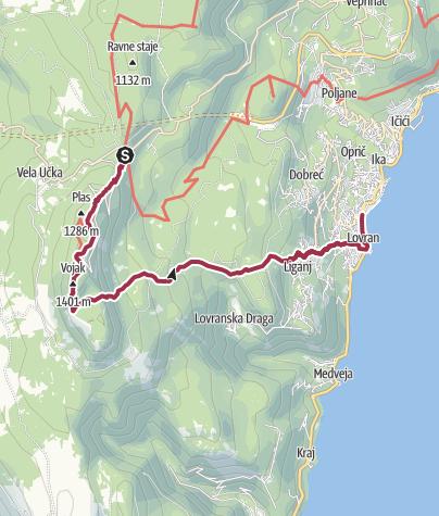 Map / Poklon to Lovran via Učka