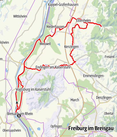 Map / Mytische Orte am Oberrhein -  Breisach – Ettenheim