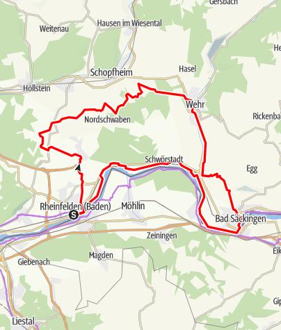 Karte / Mytische Orte am Oberrhein - Rheinfelden – Bad Säckingen
