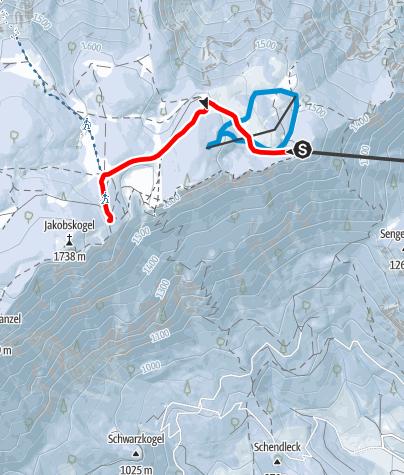 Karte / Raxalm-Berggasthof  -  Ottohaus (Schneeschuhroute 1) ca. 45 min