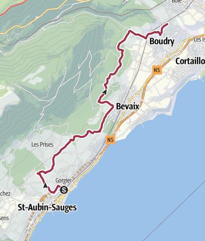 Map / Von St-Aubin nach Boudry