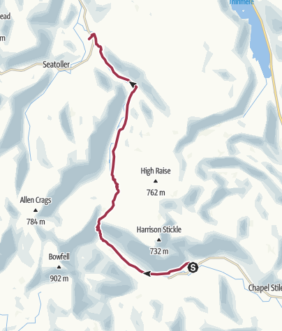 Map / Great Langdale to Rosthwaite