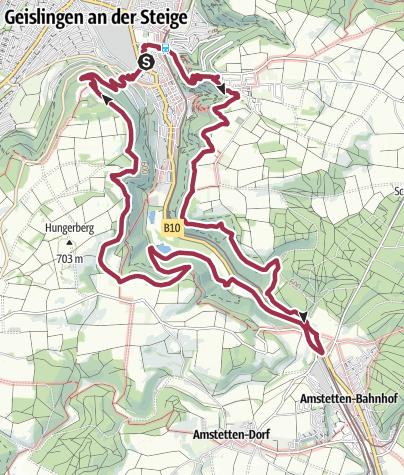 """Karte / Löwenpfad """"Steigen-Tour"""" - Entlang des schwäbischen Jahrhundertbauwerks"""