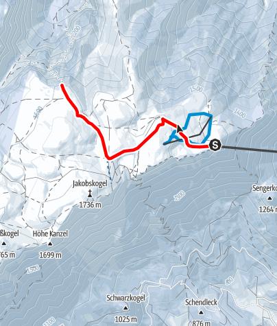 Mapa / Raxalm-Berggasthof - Höllentalaussicht (Schneeschuhroute 2) ca. 60 min