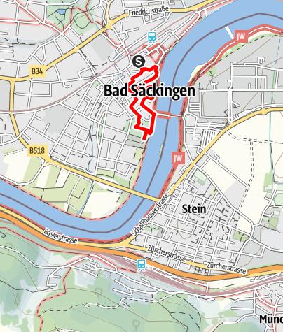 Karte / Mythische Orte am Oberrhein - Fridolinsmünster