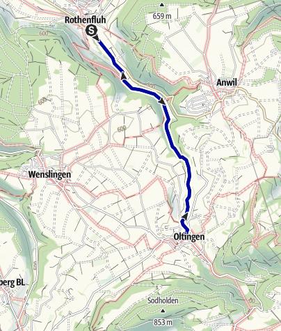 Karte / Mythische Orte am Oberrhein - Wandbild Oltingen