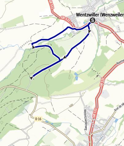 Karte / Mythische Orte am Oberrhein - La tombe des Trois Vierges
