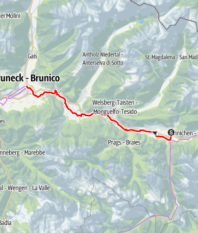 Map / Bike route Val Pusteria/Pustertal (Dobbiaco/Toblach - Brunico/Bruneck)