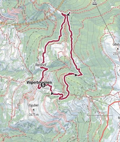 Map / Chapel trail and Bodmeri irrigation channel in Visperterminen
