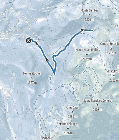 Kaart / Snowshoe trek to the Sette Selle mountain hut