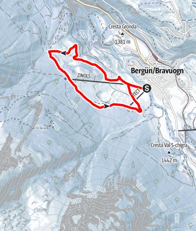 Karte / Winterwanderweg Bergün Zinols