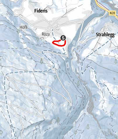Karte / Langlaufloipe Fideris - Oberfeld schwarz