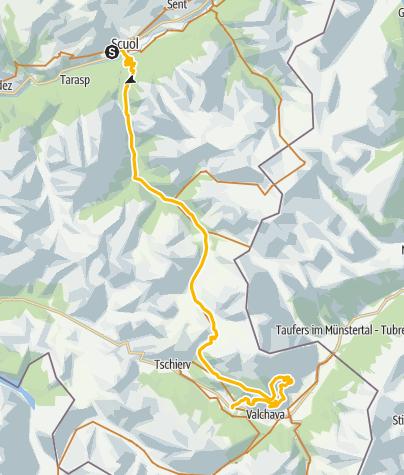 Kaart / Nationalparkregion - E-Mountainbike-Tour - 1. Etappe Scuol - Val Müstair