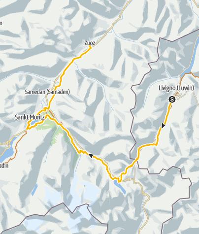 Karte / Nationalparkregion - E-Mountainbike-Tour - 3. Etappe Livigno - Zuoz