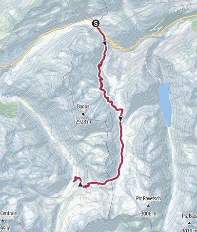 Karte / Vier - Quellen - Weg: Etappe 1 Vom Oberalppass zur Rheinquelle