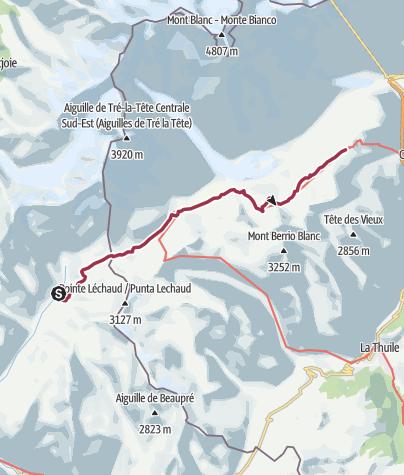Map / Les Chapieux/Refuge des Mottets to Col Checrouit via Col de la Seigne and Rifugio Elisabetta