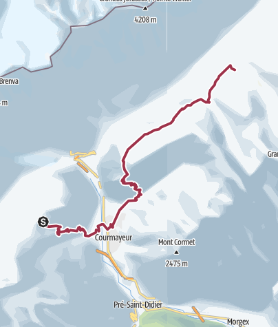 Map / Col Checroui to Rifugio Bonatti