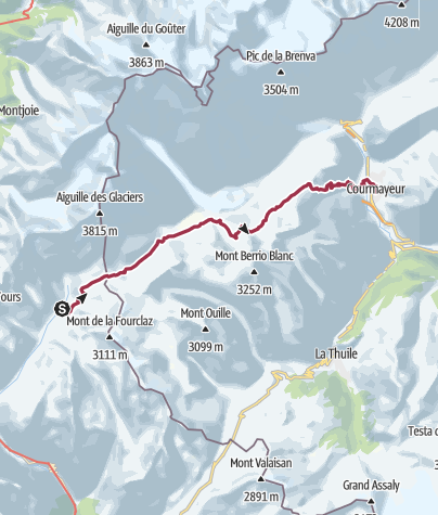 Map / Les Chapieux/Refuge des Mottets to Courmayeur via Col de la Seigne and Col Checrouit