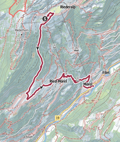 Map / Hike from Riederalp to Mörel-Filet via Oberried and Ried-Mörel