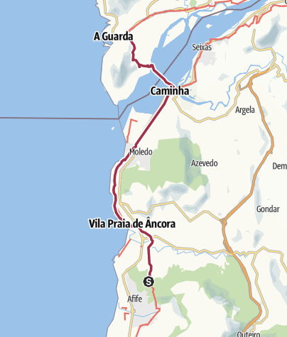 Map / Praia da Ancora to Caminha, ferry to Spain, walk to A Guarda