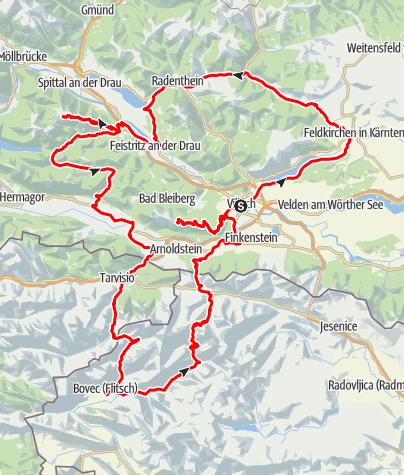 Karte / Villacher Alpenstraße und Goldeck-Panoramastraße
