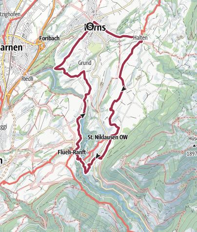Map / Von Kerns nach Flüeli-Ranft