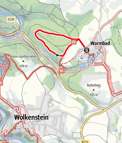 Karte / Oberer Waldring im Terrainkurwegenetz Warmbad Wolkenstein