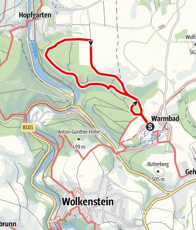 Karte / Großer Brandring im Terrainkurwegenetz Warmbad Wolkenstein
