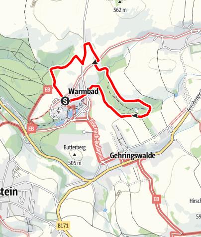 Karte / Ostring im Terrainkurwegenetz Warmbad Wolkenstein