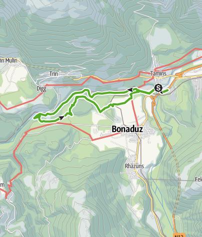 Karte / Rheinschlucht Hängebrücke - Ruine Wackenau