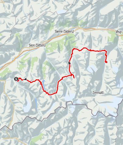 Kaart / Haute Route van Chamonix naar Zermatt