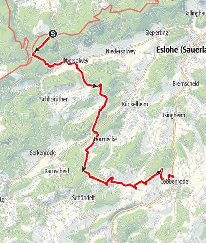 """Karte / Wandertaxi """"Höhenflug"""": Vom Birkenbrauck nach Cobbenrode über den Esloher Grenzgänger"""
