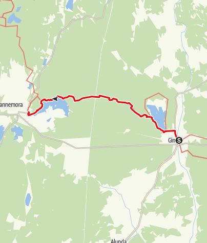 Karta / Vikingaleden etapp 7, Gimo till Österbybruk (motsvarar Upplandsledens etapp 11)