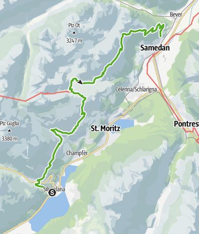 Karte / Wanderung Via Engiadina, Etappe 2: Silvaplana - Samedan